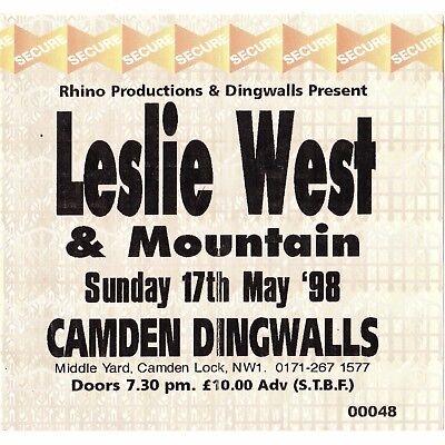 MOUNTAIN & LESLIE WEST Concert Ticket Stub LONDON 5/17/98 MISSISSIPPI QUEEN Rare
