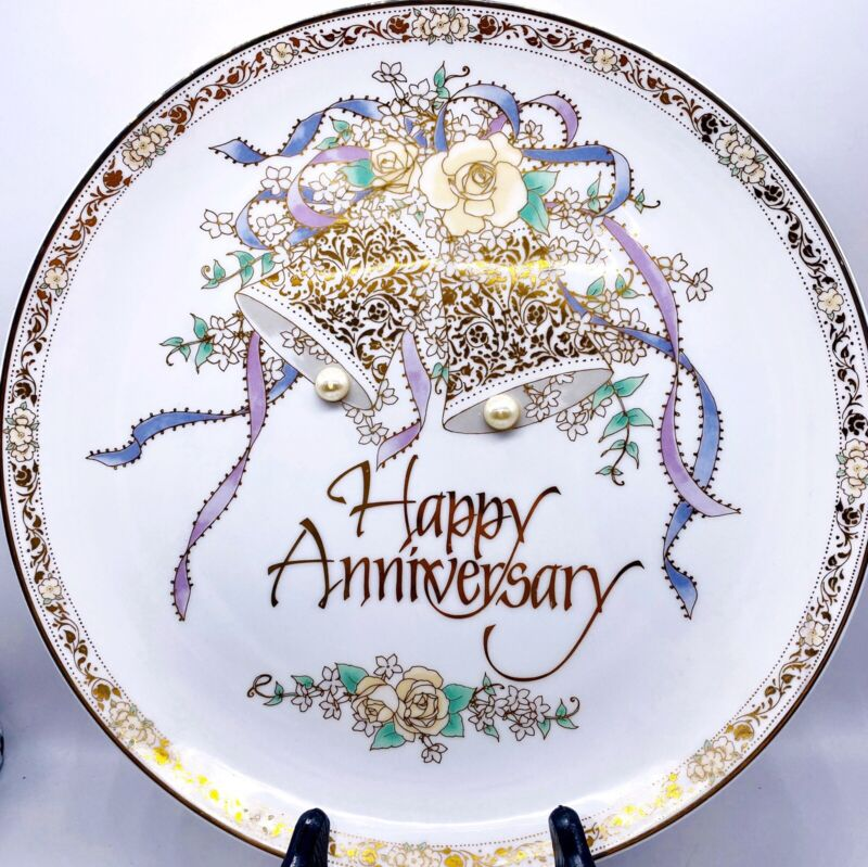 "Vtg Happy Anniversary Porcelain Plate Japan EHW Enterprises Floral Bells 10.25"""