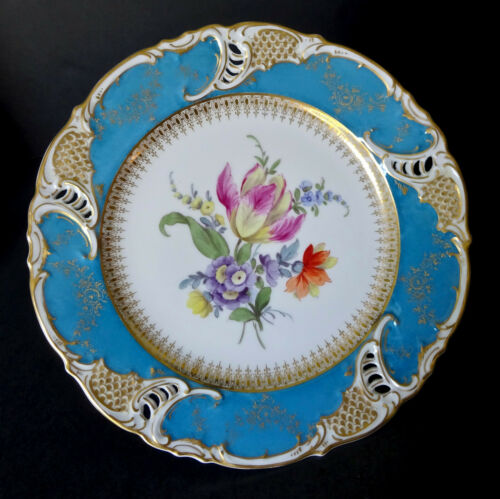 Antique Nymphenburg Plate Floral Reticulated B