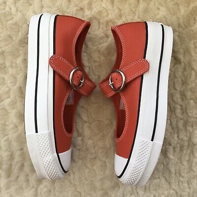 Converse Chuck Taylor All Star Mary Jane Leather Trainers Shoes Red UK4 BNIB