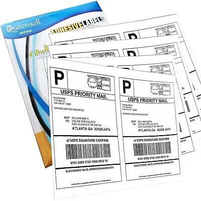 Shipping Labels 2 Per Sheet - 200 Labels 100 Sheets - Label Paper Half Sheet Lab