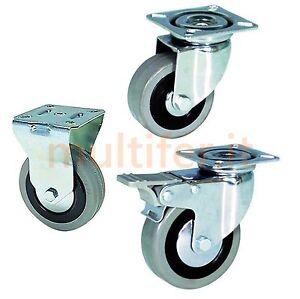 Ruote ruota per mobili carrelli ecc gommate grigie - Ruote a scomparsa per mobili ...