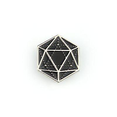 "D20 Icosahedron - Soft Enamel Pin 1"" - D&D Dungeons & Dragons RPG Geometry Dice"
