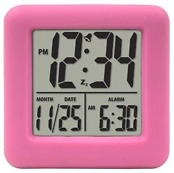 70902 Equity by La Crosse Pink Soft Cube LCD Digital Alarm Clock - Refurbished