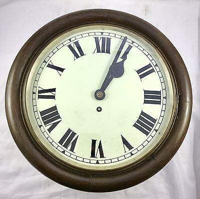 Oak Tame Side Single Fusee Wall Clock School Clock