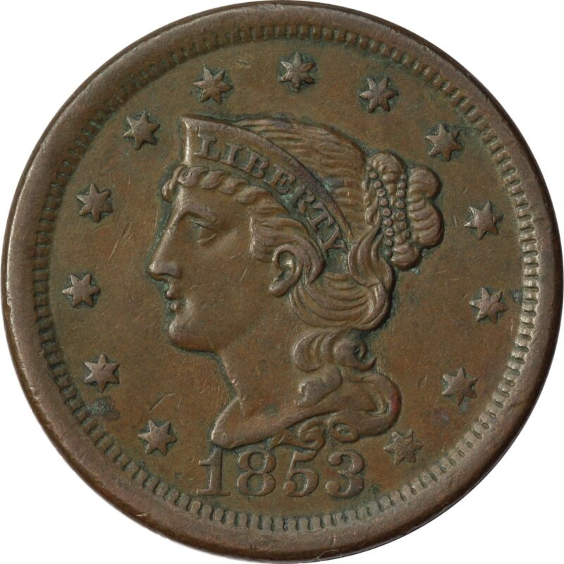 1853 1c Braided Hair Large Cent - About Uncirculated