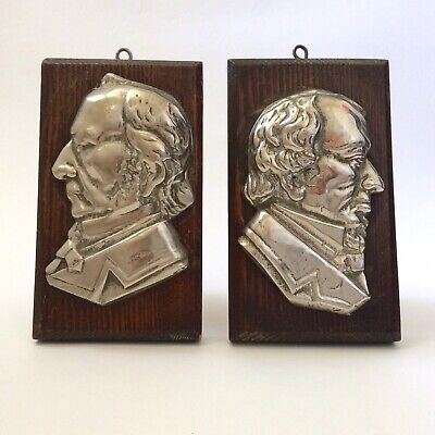 Pair Of Antique / Vintage Cast Metal Plaque Profiles Of Disraeli & Gladstone