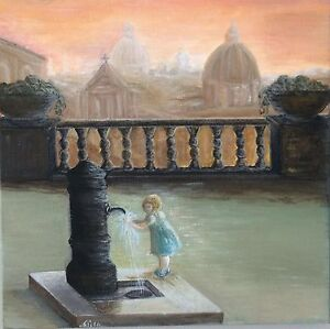 "Fine Art Painting ""Tramonto a Roma"""