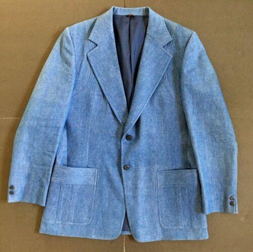 1970s Vintage Mens 44 Blue Denim Jacket Sport Coat Suit Blazer
