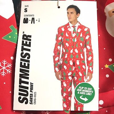Men's Suitmeister Suit Santa Ugly Xmas 3pc (Blazer, Pants, Tie) Small 34-36