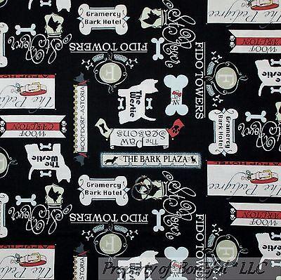 BonEful FABRIC FQ Cotton Quilt Black White Gray Red Bone Food Dog Puppy Hotel US