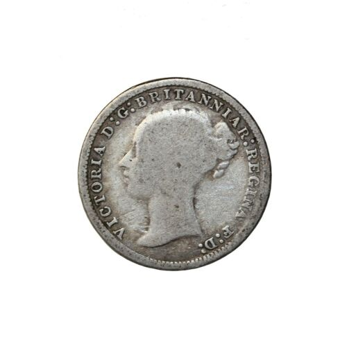 Great Britain 1876 Queen Victoria Silver Threepence Coin KM#730 3 Pence