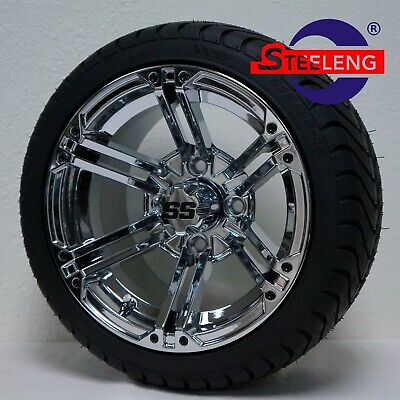 """GOLF CART 12"""" CHROME TERMINATOR WHEELS and 215/35-12 DOT LOW PROFILE TIRES (4)"""