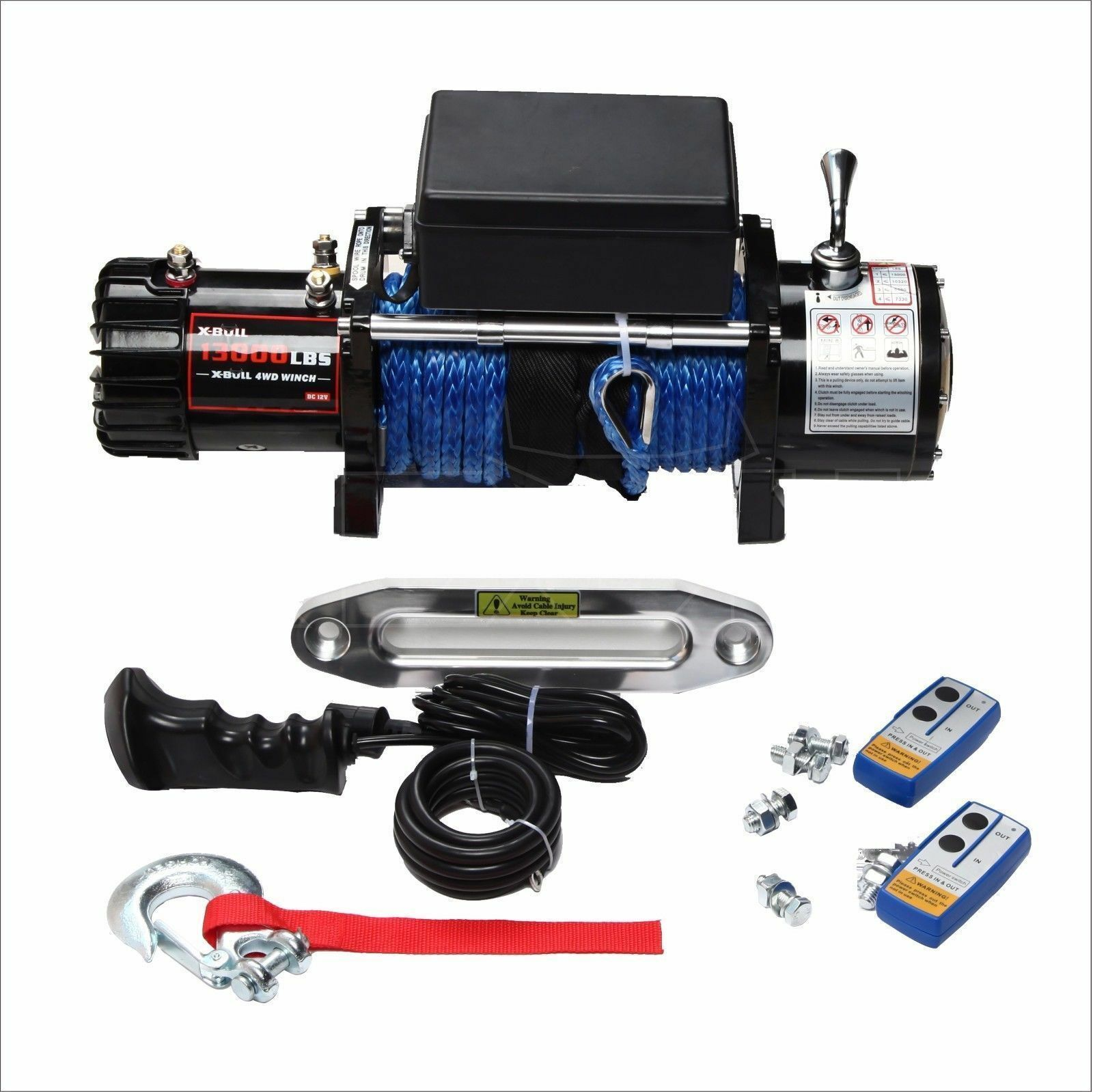 X Bull 12v Synthetic Rope Winch 13000 Lb Load Capacity Ebay How To Wire A Jeep Stock Photo