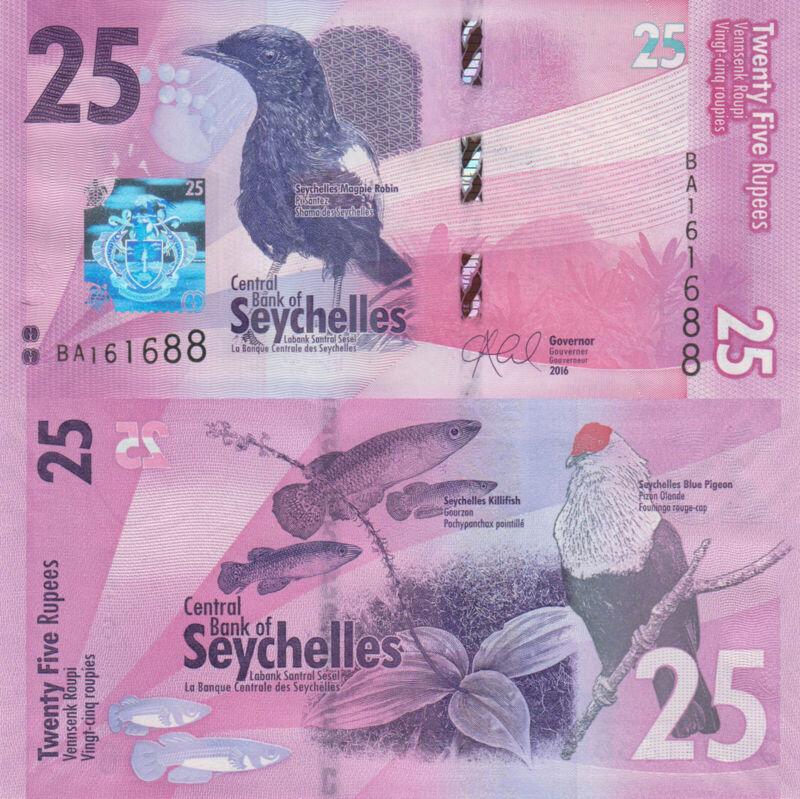 Seychelles 25 Rupees (2016) - Birds/Fish/Flowers - p48 UNC