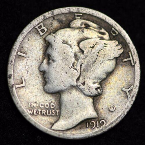 1919-P MERCURY DIME / CIRCULATED GRADE GOOD / VERY GOOD 90% SILVER COIN