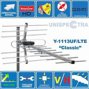 4G/LTE READY - CLASSIC - HIGH GAIN DIGITAL HD TV AERIAL ANTENNA FREEVIEW OUTDOOR