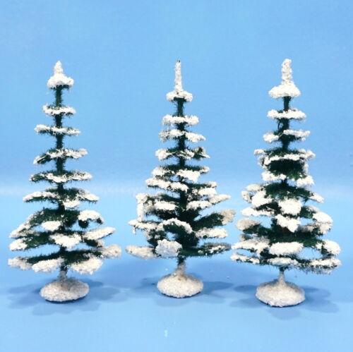 "3 German Paper Mache Nativity XMAS TREES 5"" c1930 Green White Manger Creche Folk"