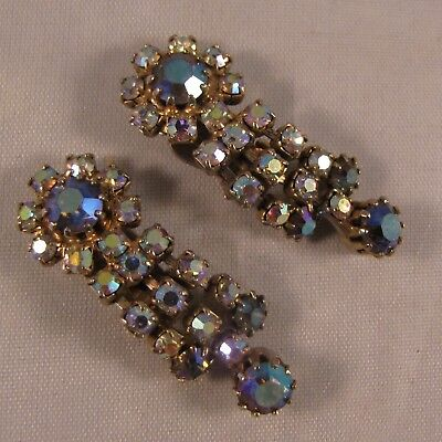 Vintage Aurora Borealis Crystal Rhinestone Multi Dangle Clip Back Earrings 1 5