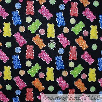 BonEful FABRIC Cotton Quilt Black Rainbow Candy Gummy Bear Silver Glitter SCRAP