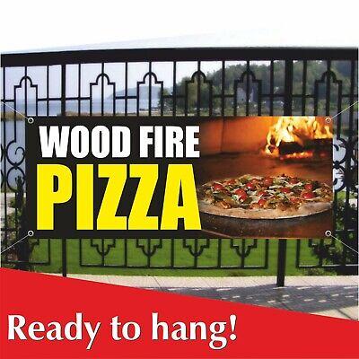 Wood Fire Pizza Banner Vinyl Mesh Banner Sign Pizzeria Italian Food Restaurant