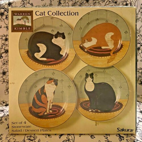 "Sakura Warren Kimble CAT COLLECTION Salad Dessert Plate Set  8.25"" New In Box!"