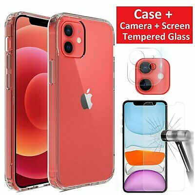 For iPhone 12/Pro/Max/Mini 5G Case Clear Slim Cover Camera Lens Screen Protector Cell Phone Accessories