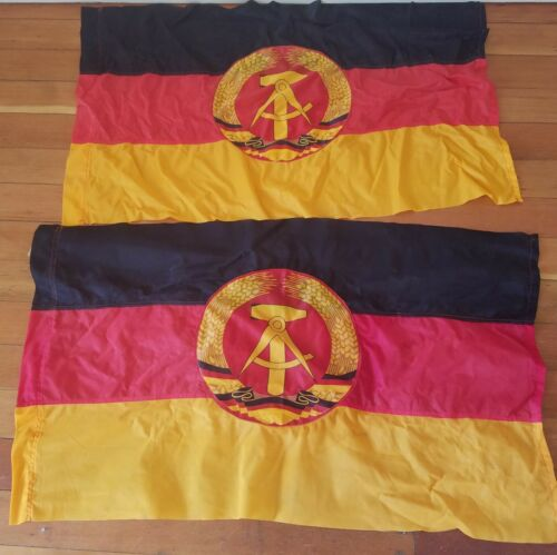 East Germany Flag x Two Original Made In DDR 1987 Double Sided Sewn