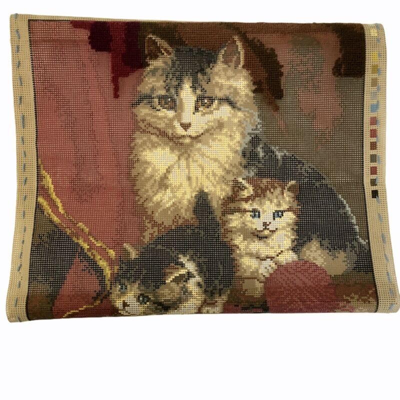 Vervaco Verachtert Needlepoint Cat Kittens Pillow Picture Incomplete As Is