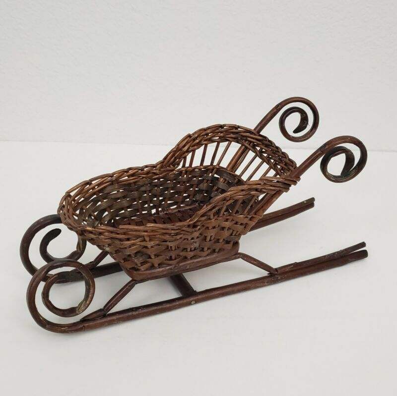 Vintage Small Brown Wicker Sleigh Christmas Holidays Decor Decorations Crafting