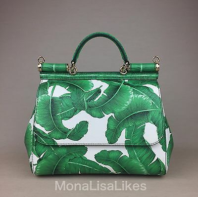 New DOLCE GABBANA Miss Sicily Green Banana Palm Leaves Leather Bag Handbag Purse