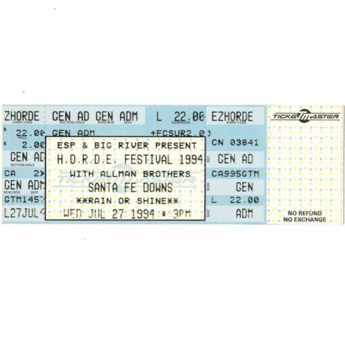 THE ALLMAN BROTHERS BAND Full Concert Ticket Stub SANTA FE NM 7/27/94 HORDE Rare