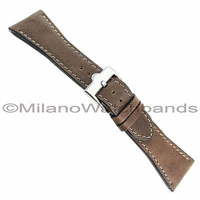26mm Glam Rock Thick Genuine Leather Brown White Stitched Watch Band EZ PINS