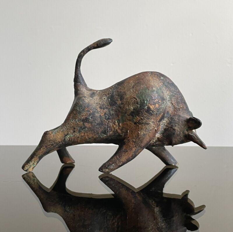 Japanese Modernist Cast Iron Bull Sculpture