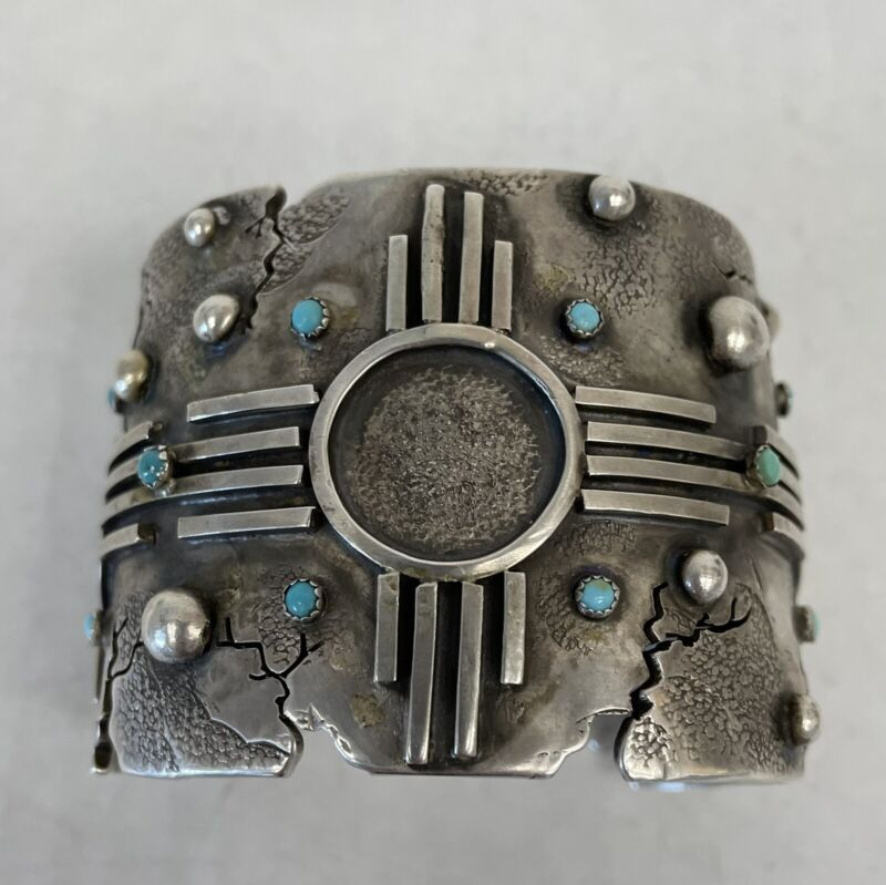 Navajo  Huge Sterling Silver and Turquoise Zia Cuff