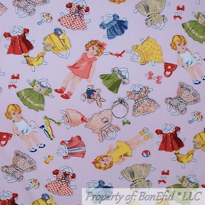 BonEful FABRIC FQ Cotton Quilt VTG Pink Baby Girl Paper Doll Dress Up Costume US