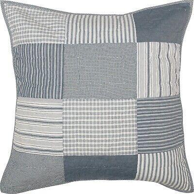 Denim Blue Euro Pillow Sham Hand Quilted Patchwork Sawyer Mill Farmhouse Bedding - Denim, Pillow Sham