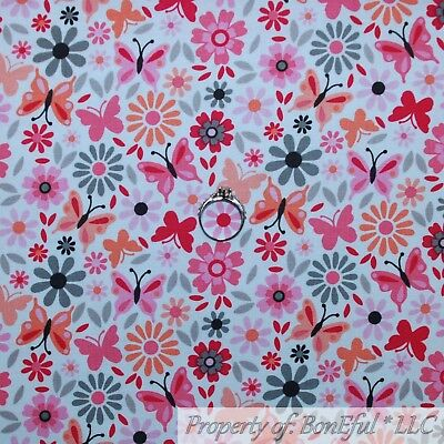 BonEful FABRIC Cotton Quilt White Pink Gray Orange Flower Butterfly Bird L SCRAP