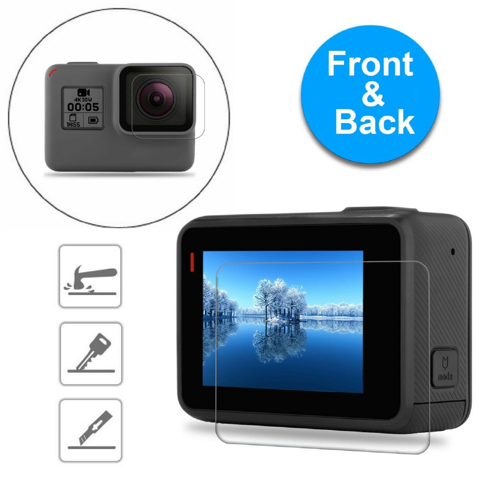 Купить MagicGuardz® - For GoPro Hero 6 5 Black Clear Tempered Glass Screen + Lens Protector