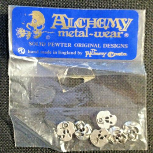 Vintage Alchemy Solid Pewter SKULL Buttons Hand Made In England -6 Buttons - NOS