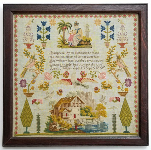 1865 STITCHED COLORFUL PRAYER NEEDLEWORK SAMPLER by AMERICAN STUDENT AGED 13