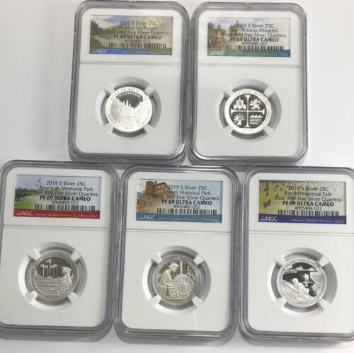 2019 S PROOF SILVER QUARTER SET NGC PF69 UC 5 COIN FIRST .999 FINE ATB PARKS LBL