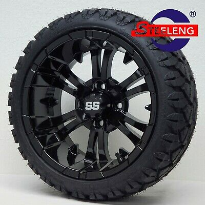 "GOLF CART 14"" BLACK VAMPIRE WHEELS and 20"" STINGER ALL TERRAIN TIRES DOT RATED"