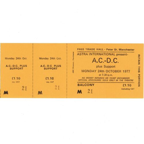 AC/DC Full Concert Ticket Stub MANCHESTER 10/24/77 LET THERE BE ROCK BON SCOTT