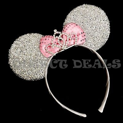 Minnie Mouse Princess BIG Tiara Crown Headband Sparkly Silver Ears Pink Bow Cute](Pink Minnie Mouse)