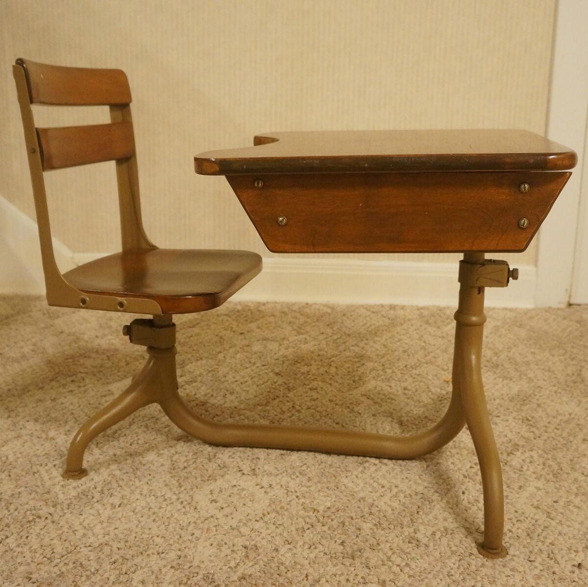 Antique Vintage Wood Metal School Desk Wi Swivel Chair