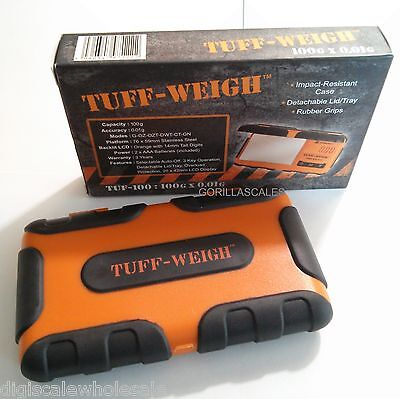 Pocket Scale 100g x 0.01 Gram TUFF Weigh Rubber Grip Protection TUF-100 Orange