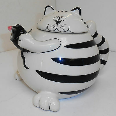 Cat & Mouse Ceramic Teapot Whimsical Pier One Import Black/White Striped