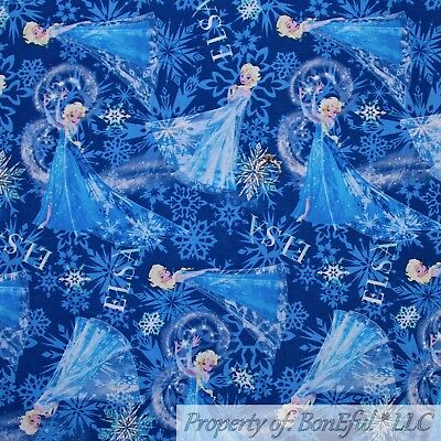 BonEful FABRIC FQ Cotton Quilt Blue White Snowflake Frozen ELSA GIRL Dress Large