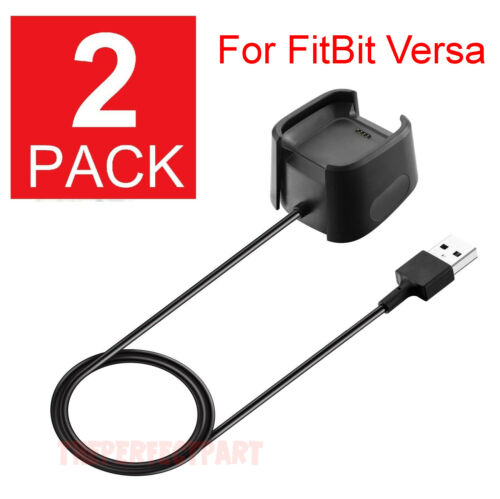 2 Pack For Fitbit Versa 1 Smart Watch USB Charging Cable Power Charger